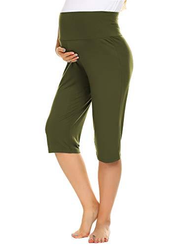 Balancora Pantaloni corti da donna a 3/4, per gravidanza, estivi, yoga, con pancia extra verde militare M