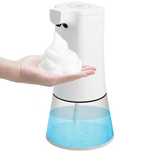 Godmorn Dispensador de jabón automático, 350ml USB Carga Dispensador de Jabón Sensor Infrarrojo Sin Contacto, IPX4 Volumen de Espuma Ajustable para los baños Cocina aseos oficinas hoteles