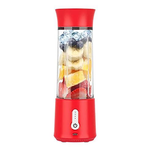 POO Batidora portátil de 500 ml para zumo de fruta mezclador USB seis cuchillas mini mezclador rojo 8,5 x 8,5 x 26,3 cm