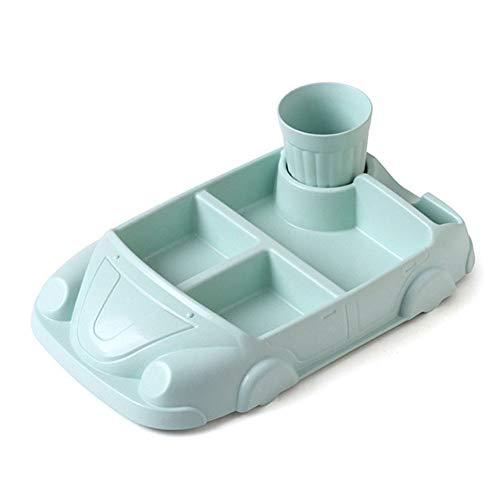 liumengjie Kinderteller Anti-Fall-Anti-Verbrühungs EIN Auto Scheiben Besteck Spielzeug Teller grün mit Tasse 30,5 * 19 * 8
