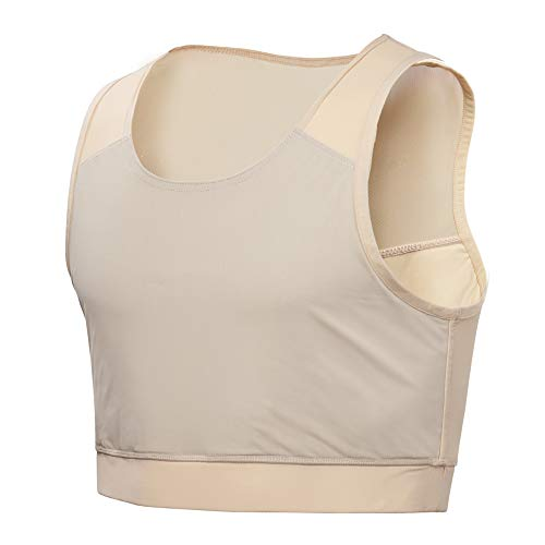 Idtswch Chest Binder For Transgender Breast Binder Half Ftm Binder Flat Binder Bra Cotton Elastic(Nude,L)