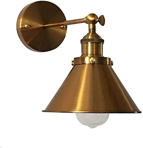 Lámpara de pared retro loft iluminación industrial vintage Ajustable Wall Apliques con cono de metal sombra de latón cepillado lámpara de pared accesorio cableado cableado para dormitorio restaur