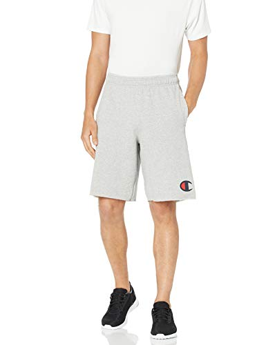 Champion Men's Graphic Powerblend Fleece Short, Oxford Gray, Large