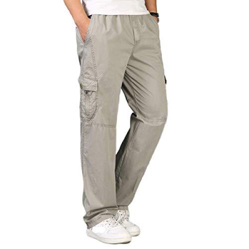 Pantalones Cargo Rectos para Hombre, Holgados, de Gran tamaño, cómodos, Informales, de Todo fósforo, Color sólido, Bolsillo clásico, Pantalones básicos L