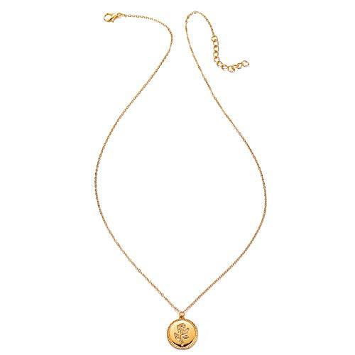 ZOZO Retro Joyas de la Cadena Collar de Regalo comunicado Color de la Flor del Oro Collar Pendiente del Encanto Rose Manera de Las Mujeres,Plata