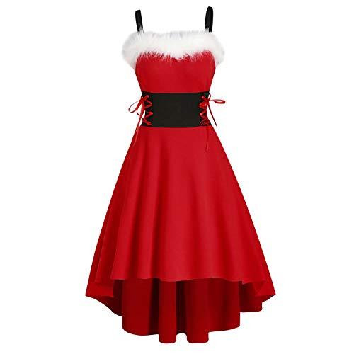Geilisungren Damen Weihnachtskleider Ärmellos Spaghettiträger Weihnachtskleid...