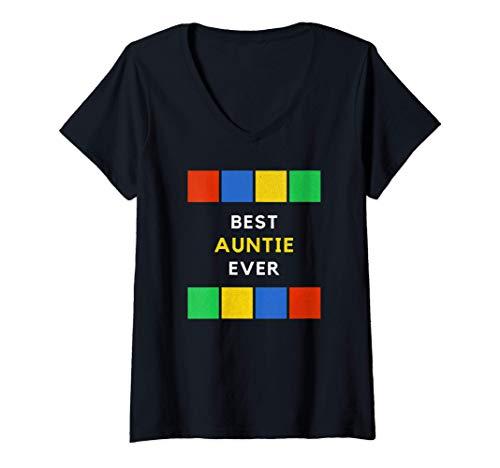 Mujer La mejor tía de la historia Noche de Juegos Vintage Retro Camiseta Cuello V