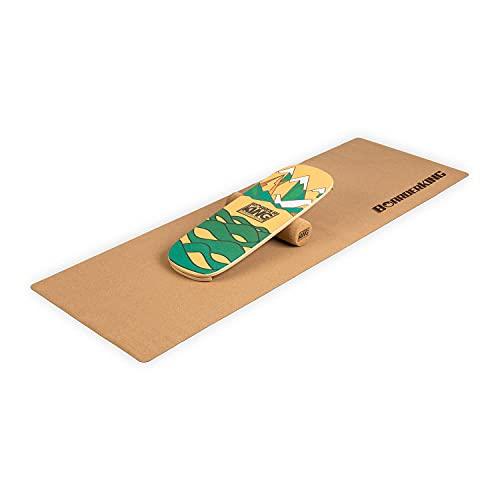 BoarderKING Indoorboard Classic - Tabla de equilibrio, Forma de monopatín, Madera de arce, Recubierto de plástico, Con esterilla y rodillos de corcho, Topes desmontables, 27 x 5 x 75 cm, Verde