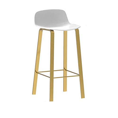 CCLC Lichtstoelen, stoelen, stoelen, smeedijzer, voor vrije tijd, barkruk, zadelrugleuning, goudkleurige legging, wit, 65 cm