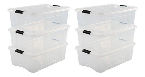 Iris Ohyama, 6er-Set stapelbare Aufbewahrungsboxen mit Klickverschluss - New Top Box NTB-30 - plastik, transparent, 6 x 30 L, L58 x B39,5 x H20,5 cm