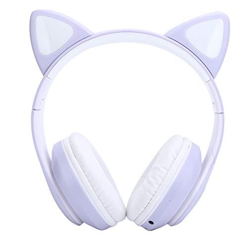 Bluetooth 5.0-koptelefoon, Cute Cat Ear LED-lampje Draadloze headsets, Ondersteuningskaart/FM, Liedjes wisselen, Spraakoproepen, Bluetooth afspelen, Stereogeluid Hoofdtelefoon voor jongeren(Purper)