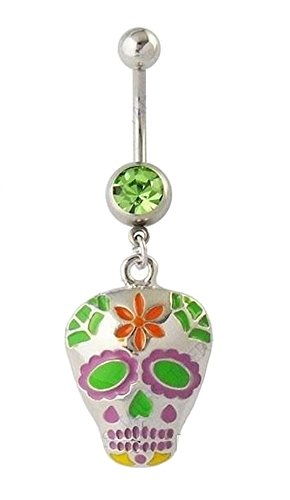 COLORFUL SUGAR SKULL SKELETON Navel Belly Button Ring Body Jewelry Piercing