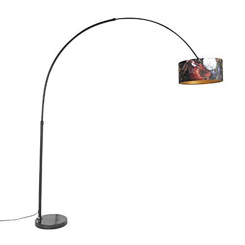 QAZQA Modern Bogenlampe schwarzer Veloursschirm Blumenmuster 50 cm - XXL/Innenbeleuchtung/Wohnzimmerlampe/Schlafzimmer Stahl/Marmor/Textil Länglich/Zylinder/Rund LED geeignet E27 Max. 1 x 60