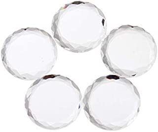 Mgoodoo 5pcs 40mm Transparent Glass Fancy Stone Flat Back Round Crystal for Jewelry Making and DIY Glue Decoration