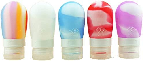 MKNzone 4 Stück 80ml Farbe Portable Soft Silikon Reiseflaschen Set mit verschlossenen Deckel (Glühbirne Form), sehr geeignet für die Lagerung von Shampoo, Lotion und Conditioner, etc.