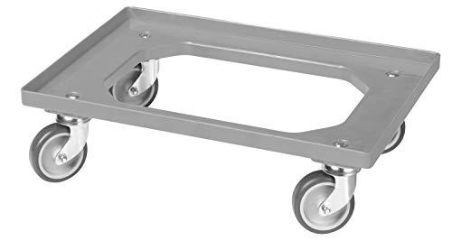 Transportroller für Kisten 60 x 40 cm mit 4 Lenkrollen in grau