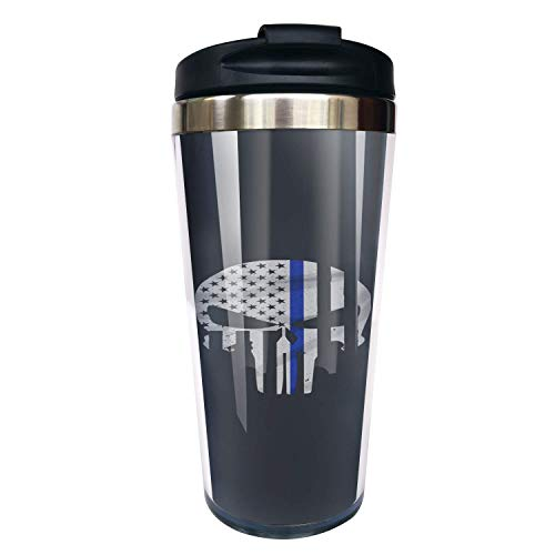 Hasdon-Hill Thin Blue Line Skull Flag Travel Coffee Mug With Black Lid And Wrap, Stainless Steel Tea Cup For Dad Uncle Friend Birthday Christmas Gifts 12 Oz