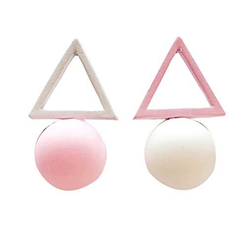Ruby569y Pendientes colgantes para mujeres y niñas, pendientes geométricos con forma de bola de color caramelo para mujer, color blanco + rosa