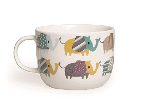 Excelsa Animals Tasse Jumbo, 450ml, Porzellan, Weiß Elefant 11x11x8.1 cm Weiß/bunt