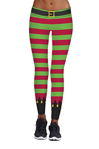 Viottiset Damen Leggings Weihnachten Muster Hose Push Up Stretch Skinny Leggings Ginger
