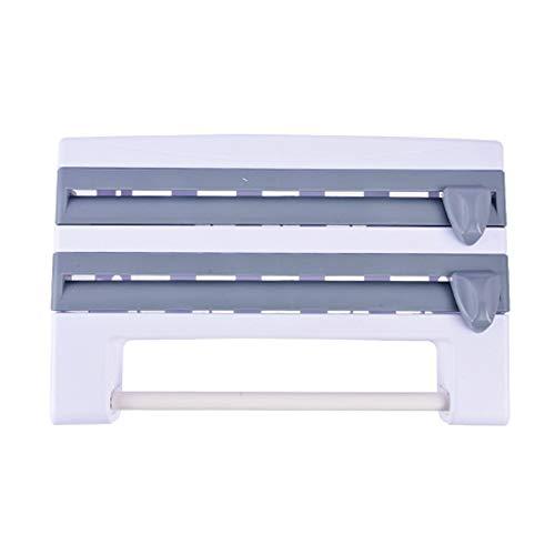 wangfan 4 In 1 Wall-mounted Kitchen Cling Film Tin Foil Storage Rack Organizer Holder Multifunctional Gray Abs Paper Towel Holder Shelf
