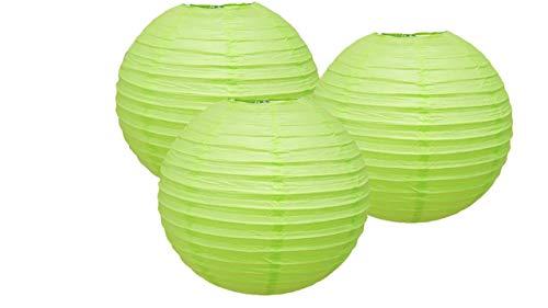 Lot de 3 lanternes en papier pour fête d'anniversaire, baby shower, mariage - Décoration de fête - Vert clair - 10 cm
