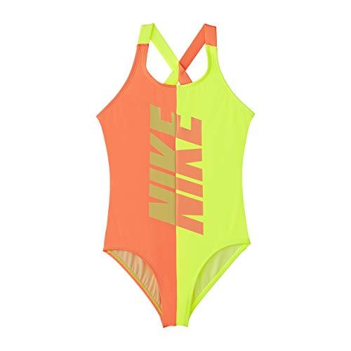 Nike Mädchen Rift Crossback One-Piece Swimsuit Einteiler Badeanzug (Orange Pulse, L)