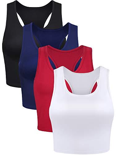 4 Pieces Basic Crop Tank Tops Sleeveless Racerback Crop Sport Top for Women (Black, White, Wine Red, Navy Blue, Medium)