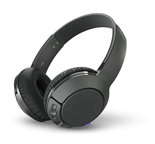 TCL MTRO200BT Auriculares inalámbricos con micrófono (Bluetooth 4.2, con aislamiento de ruido, almohadillas de cuero, 20H bateria, carga rápida, plegables), Negro