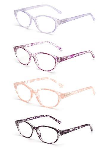 JM Set de 4 gafas de lectura para mujer Lector de bisagra de resorte ligero para mujer Color mezclado +1.25