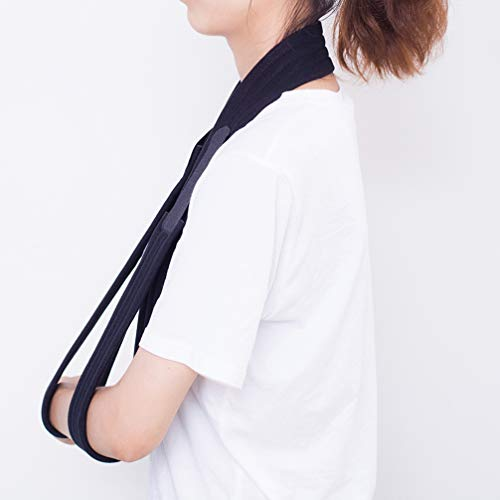HEALLILY Arm Sling Shoulder Immobilizer Sling Arm Immobilizer Strap Adjustable Shoulder Arm Support for Fractured Broken Wrist Arm Elbow Black Size L