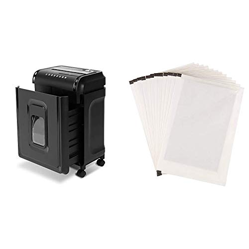 AmazonBasics 8-Sheet High-Security Micro-Cut Shredder with Pullout Basket & Paper Shredder Sharpening & Lubricant Sheets - Pack of 12