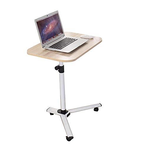 Dongy Abnehmbarer Laptop-Tisch mit drehbarem Rollbrett – Verstellbarer Schreibtisch für Zuhause oder Krankenhaus Holzfarbe