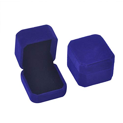 iSuperb Set of 2 Blue Velvet Couple Ring Box Earring Jewelry Case Gift Boxes 2.2x1.9x1.6inch (2Pcs Ring Box)