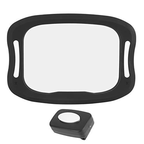 Espejo retrovisor para el asiento trasero para bebés y niños pequeños, Espejo retrovisor para el asiento trasero del coche para bebés Espejo retrovisor para bebés con luz LED Control remoto para niños