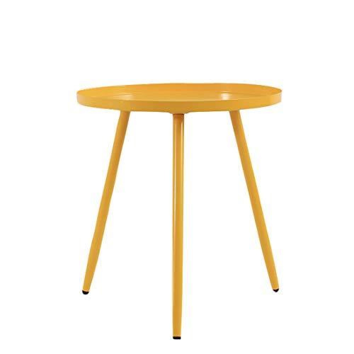 LWKBE Modern Metall Tray Beistelltisch Kaffee Accent Tisch, Sofa, Tisch, kleine runde Beistelltische für Outdoor & Indoor, Anti-Rost und Wasserdicht Snack Tisch, Wohnkultur,Gelb