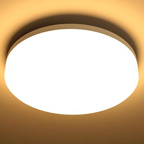 LE 15W Deckenlampe, IP54 Wasserfest Badlampe, 3000K LED Deckenleuchte, 1250lm Lampen ideal für Badezimmer Balkon Flur Küche Wohnzimmer, Warmweiß Badezimmerlampe Ø22cm