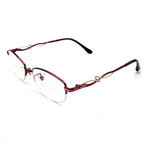 Progressive Multi-Fokus-Lesebrille Frauen in Nah und Fern Dual-Use 3 Visionen Komfortable Brillen Stilvolle Lesegeräte, geeignet für das Lesen von Walking Office Internet, Lila/Schwarz/Rot/Pin