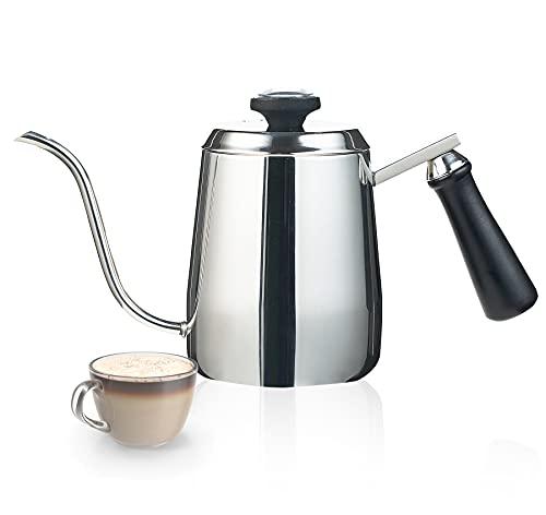 Kaffeekanne mit Thermometer, Edelstahl Schwanenhals Kaffeekessel, 350ml Handgefertigte Tropfkaffeekessel, Klein Wasserkessel Tropfwasserkocher Handbrüh Kaffee, Tee 1-2 tassen