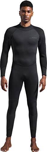 Dark Lightning Mens 3mm Full Suit Wetsuit for Scuba Diving, Snorkeling Surfing Thick and Warm Jumpsuit for Multi Watersports (Men's XL)