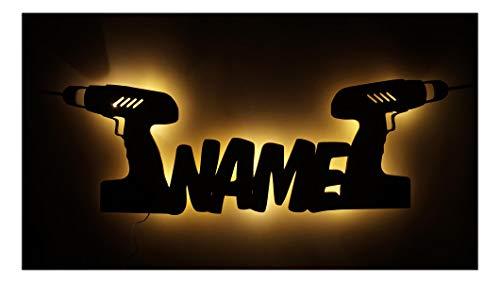 Schlummerlicht24 3d Led Tool Lampen Nachtlicht Akkuschrauber Werkzeug lustige witzige Männer-Geschenk mit Namen, für Handwerker Deko-Lampe Werkstatt Arbeits-Zimmer Büro Namens-Geschenk