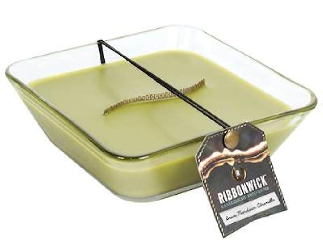 スタジアムペルメル買い物に行くグリーンマンダリンシトロネラ装飾ガラスMedium RibbonWick Scented Candle?–?アウトドアコレクション