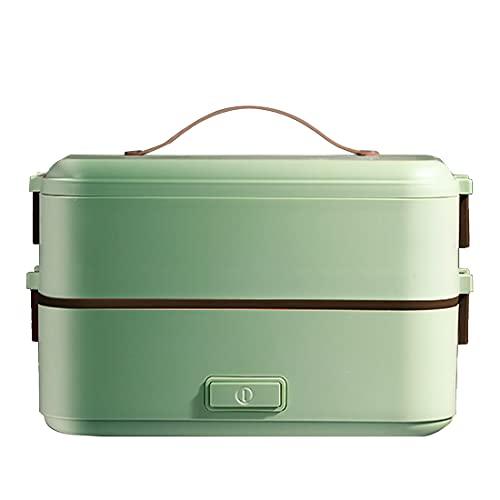 Shna ポータブル 炊飯器 一人用 小型暖房クックご飯 弁当箱, 各レイヤーは個別に使用できます, 完全密閉カバー付, サーマルランチボックス 0.8L (アボカドグリーン, 2層)