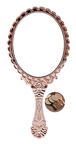 Specchio da viaggio con manico in stile vintage, con manico e specchio da trucco, da viaggio, con cipria, mini specchio a mano, regalo creativo, bronzo