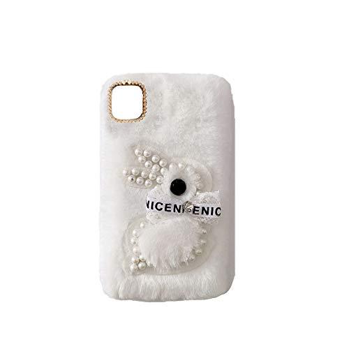 YHY Moto Edge S 5G Estuche Teléfono Móvil Estilo Lindo 3D Perla Linda Peluche De Conejo para Motorola Moto Edge S 5G Blanco