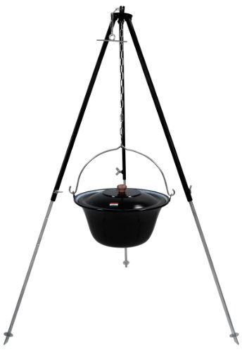 Grillplanet Original ungarischer Gulaschkessel 10 Liter emailliert | Dreibein-Gestell 130cm Teleskopgestell Kettenhöhenverstellung mit Gulasch-Topf, Suppentopf mit Deckel | Kesselgulasch Topf im Set