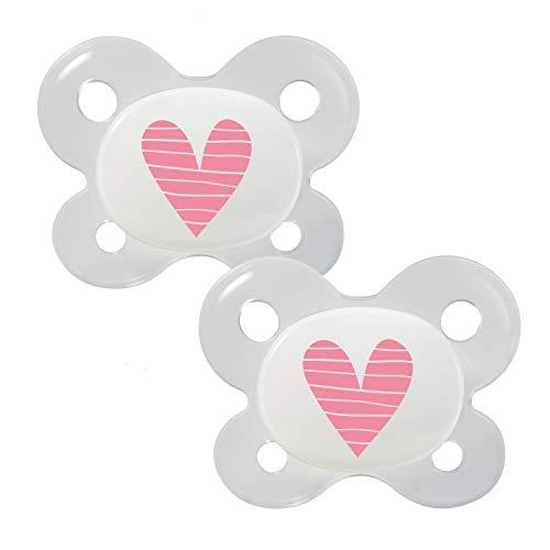 Dentistar® Silikon Schnuller 2er Set mit Kappe - Größe 0 - für Babies ab 0-2 Monaten - Baby Nuckel mit Dentalstufe für Neugeborene - zahnfreundlich - Made in Germany - BPA frei - Herz rosa