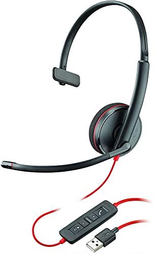 Plantronics Blackwire C3210 - Auriculares con cancelación de Ruido, Protector de Sonido y Brazo Flexible, Color Negro Mono USB-A Negro