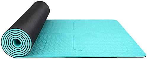 EIERFSKIOT Esterilla Yoga Esterilla Fitness Esterilla Deporte Alfombrillas Antideslizantes para Pilates Calientes, Sistema de alineación Corporal, Resistentes al desgarro, con Correa de Transporte, a