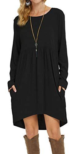 LQBZ Womens Fall Cute High Low Short Casual T Shirt Tunic Dress with Pockets Black L